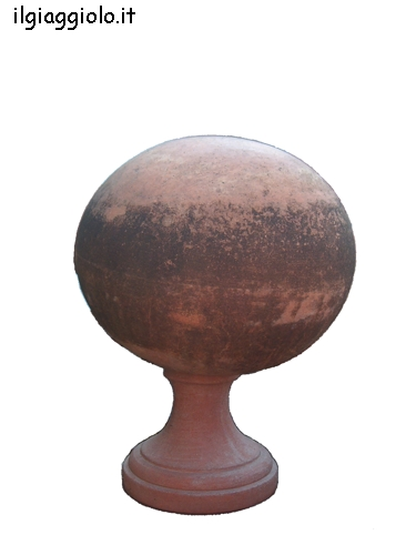 Sfera con base in terracotta dell' impruneta.